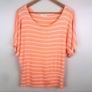 ZENANA OUTFITTERS Orange Striped Oversize Fit Top